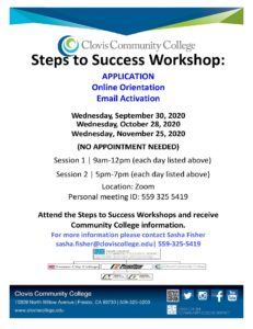 CCC Application Workshop Fall 2020