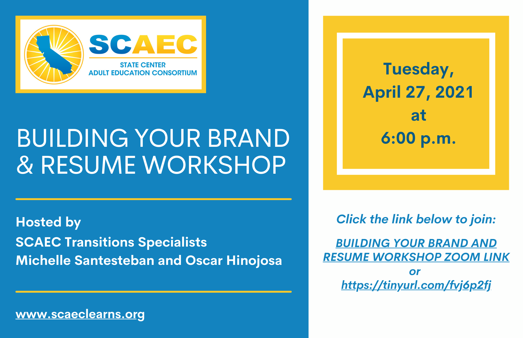 Build your Brand and Resume Workshop - Evening